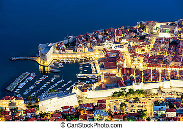 Aerial view of Dubrovnik old town with habor