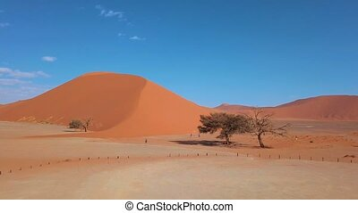 Aerial view of Dune 45, Sossusvlei Namibia - Aerial view of...