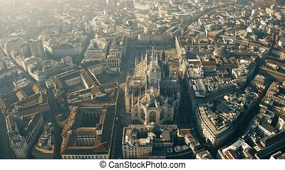 Aerial view of Duomo di Milano or Milan Cathedral. Lombardy,...