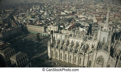 Aerial view of Duomo di Milano or Milan Cathedral, main landmark in very centre of the city. Italy