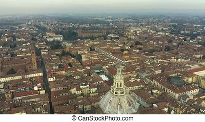 Aerial view of Duomo di Pavia cathedral within the cityscape...