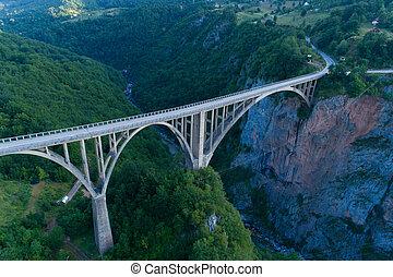 aerial view of Durdevica Bridge over Tara Canyon