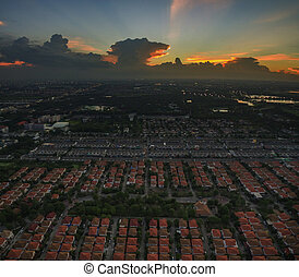 aerial view of dusky sky and home village landscape in bangkok thailand