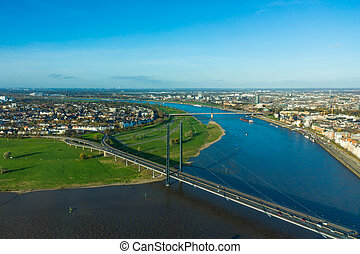 Aerial view of Dusseldorf city in North Rhine-Westphalia Germany