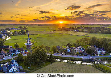 Aerial view of dutch countryside