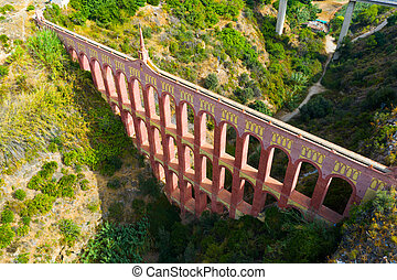 Aerial view of Eagle Aqueduct in Andalusian municipality of Nerja, Spain