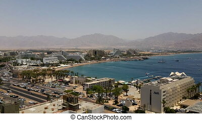 aerial view of Eilat aerial hyperlapse. High quality FullHD footage