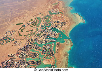Aerial view of El Gouna a luxury Egyptian tourist resort located on the Red Sea 20 kilometres north of Hurghada.