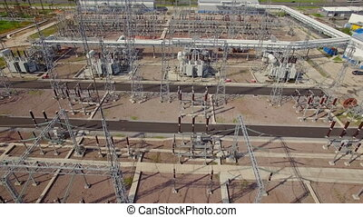 aerial view of electrical power substation in the city