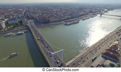 Aerial view of Elisabeth Bridge across the River Danube