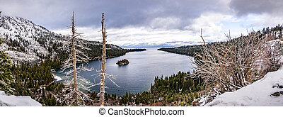 Aerial view of Emerald Bay on a cloudy winter day, south Lake Tahoe, California