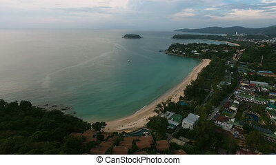 Aerial view of empty sea beach at summer day