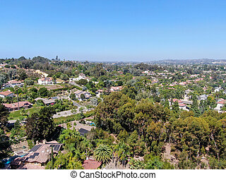 Aerial view of Encinitas town with large villa and swimming pool