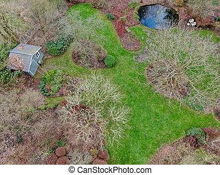 Aerial view of English garden type during winter season.