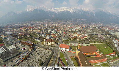 """""""Aerial view of European city with developed infrastructure,..."""