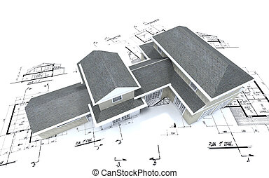 Aerial view of expensive house on blueprints