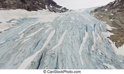 Aerial view of Fabergstolsbreen glacier in Nigardsvatnet...