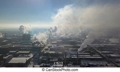 Aerial view of factory smoke stack - Oil refinery,...