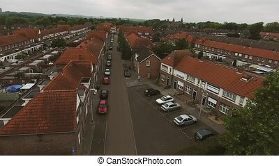 Aerial view of family houses of Dutch town - Aerial view of...