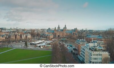 Aerial view of famous Amsterdam museum quarter or...