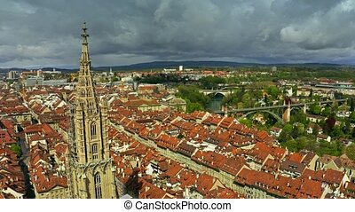Aerial view of famous Bern Minster or Cathedral in Old City...