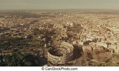Aerial view of famous Colosseum or Coliseum amphitheatre...