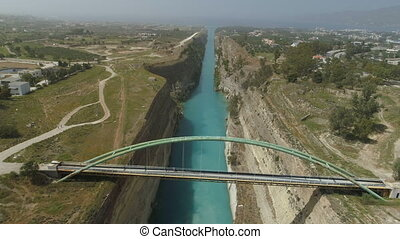 Aerial view of famous Corinth Canal of Isthmus, Peloponnese....