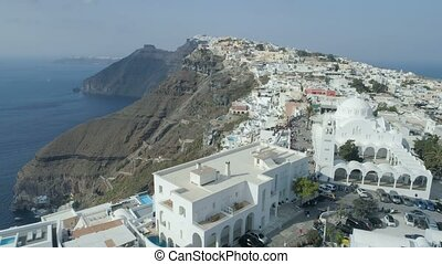 Aerial view of famous Greek resort Thira. - Aerial view of...