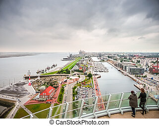Aerial view of famous Havenwelten and hanseatic city Bremerhaven, Germany