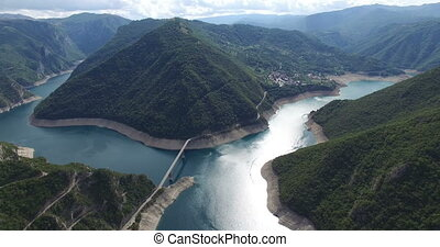 Aerial view of famous Piva Canyon with its fantastic...