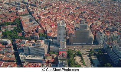 Aerial view of famous Plaza de Espana square in Madrid, ...