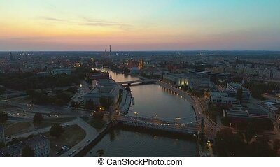 Aerial view of famous polish city Wroclaw. European Capital...