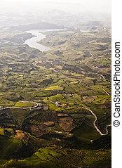 Aerial view of farm fields