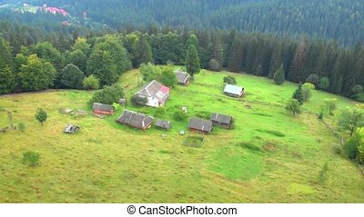 Aerial View of Farm in the Carpathian Mountains of Ukraine