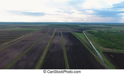 Aerial view of farm lands - Aerial view.Aerial agricultural...