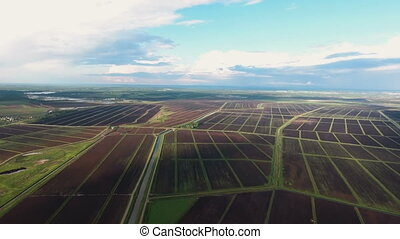 Aerial view of farm lands