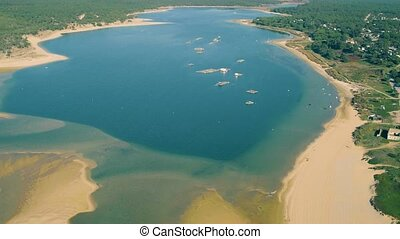 Aerial View of Farm on Cultivation of Seashells, Portugal
