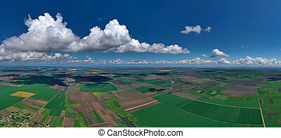 Aerial view of farmed fields