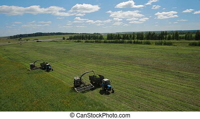 Aerial view of farmer harvesters