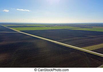 Aerial view of farmland Green Field