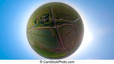 Aerial view of farmland spherical panorama - agricultural,...