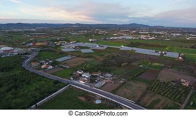Aerial. View of Faro County landscape, shooting from the sky with drone.