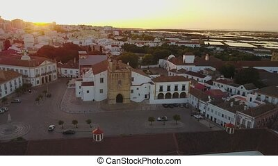 Aerial view of Faro with historic cathedral in the middle of...