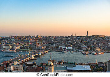 Aerial view of Fatih and Galata bridge over Golden Horn bay