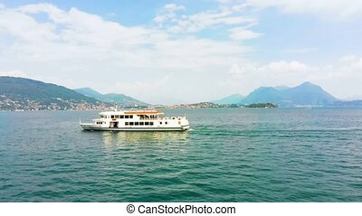 aerial view of ferry in Maggiore lake - aerial view of...