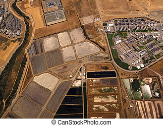 Aerial View of Fields and Industry