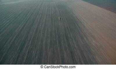 Aerial view of fields and power lines