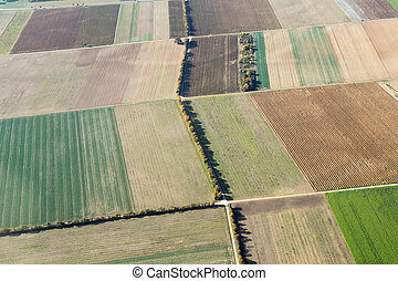 Aerial view of fields in Southern Germany