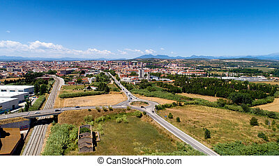 Aerial view of Figueres city in Catalonia