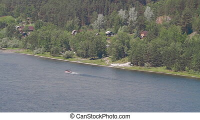 Aerial view of fish boat river - Summer Nature Banner Sun...